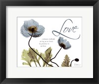 Mineral Blue Poppies...Love Framed Print