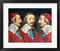 Framed Triple Portrait of the Head of Richelieu, 1642