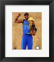Framed Jason Terry with the 2011 NBA Championship Trophy Game 6 of the 2011 NBA Finals