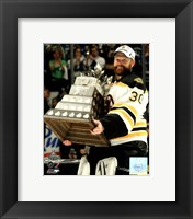 Framed Tim Thomas with the Conn Smythe Trophy Game 7 of the 2011 NHL Stanley Cup Finals(#44)