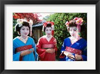 Framed Three geishas, Kyoto, Honshu, Japan