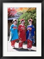 Framed Three geishas, Kyoto, Honshu, Japan (posed)