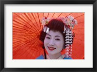 Framed Geisha Orange Umbrella