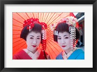 Framed Geishas with Umbrellas