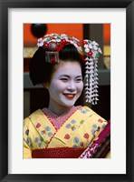 Framed Japanese Geisha with Flowers in Her Hair