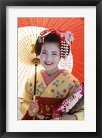 Framed Young Geisha with Umbrella