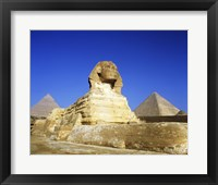 Framed Great Sphinx and pyramids, Giza, Egypt