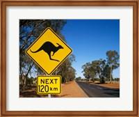 Framed Kangaroo crossing sign, Australia