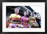 Framed Three geishas, Kyoto, Japan