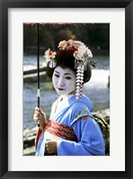 Framed Geisha looking sideways, Kyoto, Japan