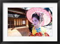 Framed Geishadressed in a kimono, Kyoto, Honshu, Japan
