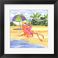 Beach Chair Flamingo Framed Print