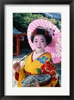 Framed Geisha with Pink Umbrella
