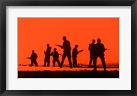 Framed Silhouette of army soldiers, US Military Special Forces
