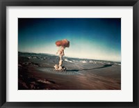 Framed Atomic bomb testing in the desert