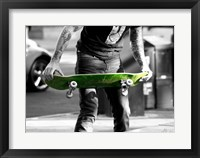 Framed Green Skateboard