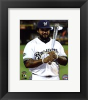 Framed Prince Fielder with the 2011 All-Star Game MVP Award
