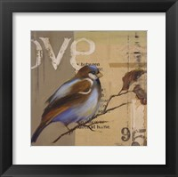 Blue Love Birds II Framed Print