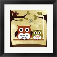 Framed Two Owls on Swing