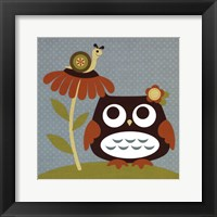 Owl Looking at Snail Framed Print