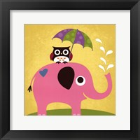 Elephant and Owl with Umbrella Framed Print