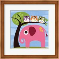 Framed Elephant with Three Owls