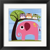 Framed Elephant with Three Owls