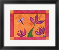 Framed Blooms and Butterfly
