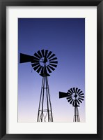 Framed Silhouette of windmills, American Wind Power Center, Lubbock, Texas, USA