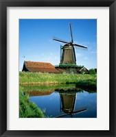 Framed Windmill, Zaanse Schans, Netherlands Reflection