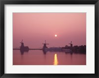 Framed Windmills at Sunrise, Zaanse Schans, Netherlands