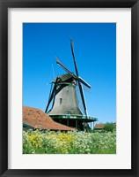 Framed Windmill and Cyclists, Zaanse Schans, Netherlands