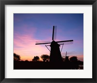 Framed Silhouette, Windmills On Purple Sunset, Kinderdijk, Netherlands