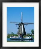 Framed Windmill and Canal Tour Boat, Kinderdijk, Netherlands