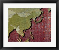 Framed Close-up of a world map - red