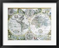 Framed Close-up of a world map, John Speed, 1626