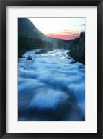 Framed River flowing around rocks at sunrise, Sunrift Gorge, US Glacier National Park, Montana, USA
