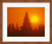 Framed Silhouette of a temple at sunrise, Bali, Indonesia