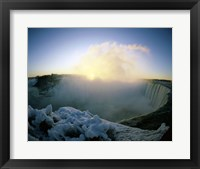 Framed Sunrise over a waterfall, Niagara Falls, Ontario, Canada