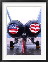 Framed FA-18 Hornet engines covered with American flag, USA