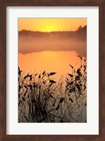 Framed Sunrise over a lake