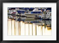 Framed USA, California, Santa Barbara, boats in marina at sunrise