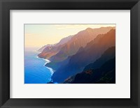 Framed Mountain range at sunrise, Na Pali Coast, Kauai, Hawaii, USA