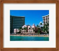 Framed Hotel on the beach, Royal Hawaiian Hotel, Waikiki, Oahu, Hawaii, USA