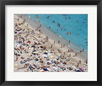 Framed Aerial view of people at the beach, Waikiki Beach, Honolulu, Oahu, Hawaii, USA