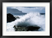 Framed Kauai Hawaii USA Waves Crashing