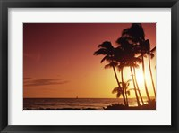 Framed Kauai Hawaii USA Beach at Sunset