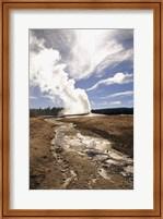 Framed Old Faithful Geyser Yellowstone National Park Wyoming USA