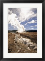 Framed Old Faithful Geyser Yellowstone National Park Wyoming USA