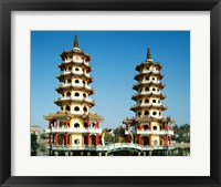 Framed Facade of a pagoda, Dragon and Tiger Pagoda, Lotus Lake, Kaohsiung, Taiwan